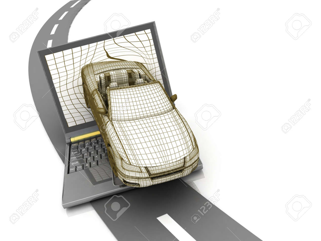 model car crash from the laptop on the road Stock Photo - 12051048