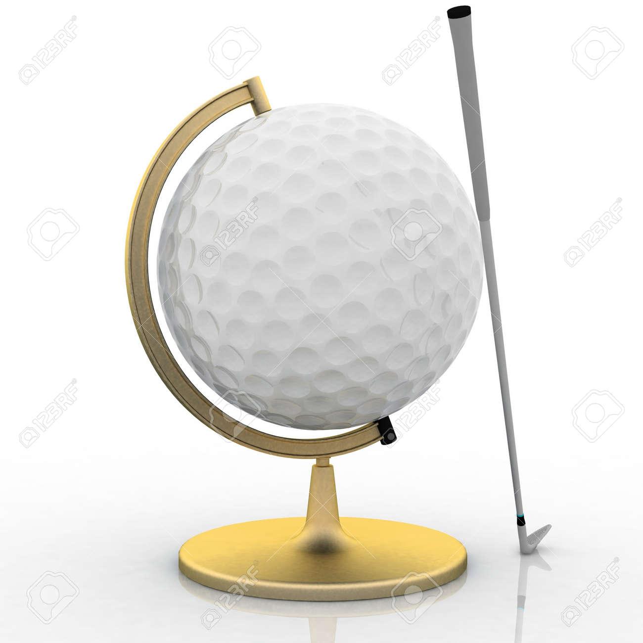 globe golf ball sign Stock Photo - 12050463