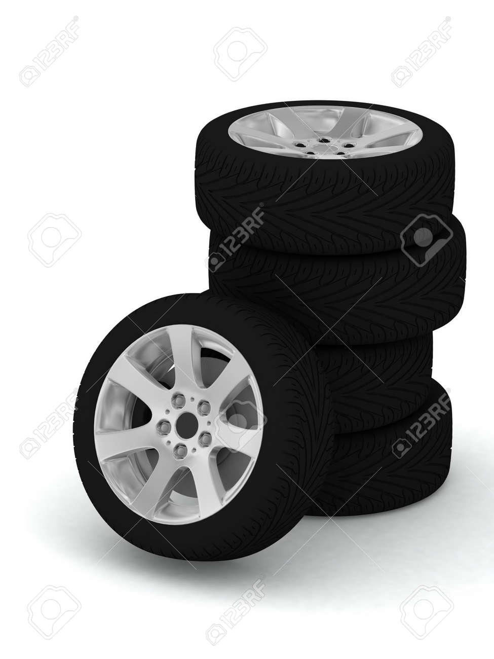 New wheels on white background Stock Photo - 12051701