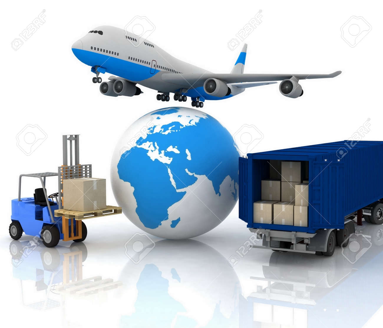 airliner with a globe and autoloader with boxes Stock Photo - 12089777