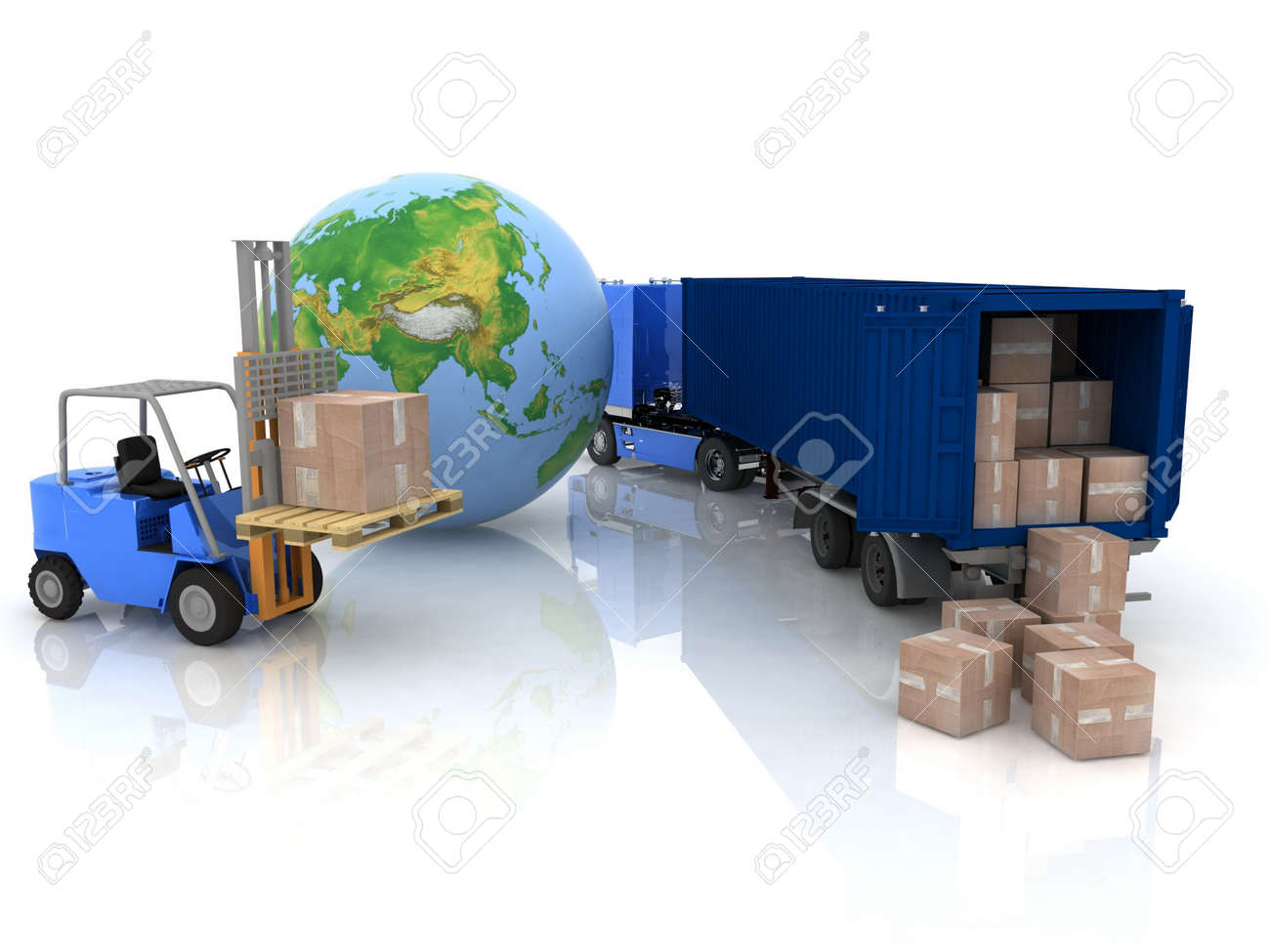 Loading of boxes is isolated in a container on a white background Stock Photo - 12113569