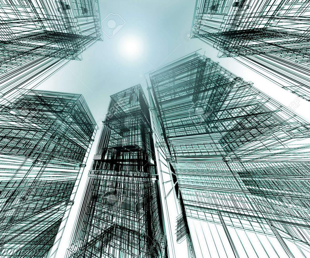 Abstract Architectural 3D Construction Stock Photo, Picture And ... 841ef7c43a60