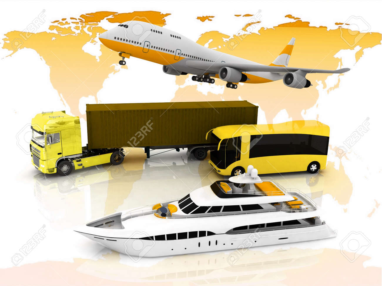 types of transport  on a background map of the world Stock Photo - 12406155