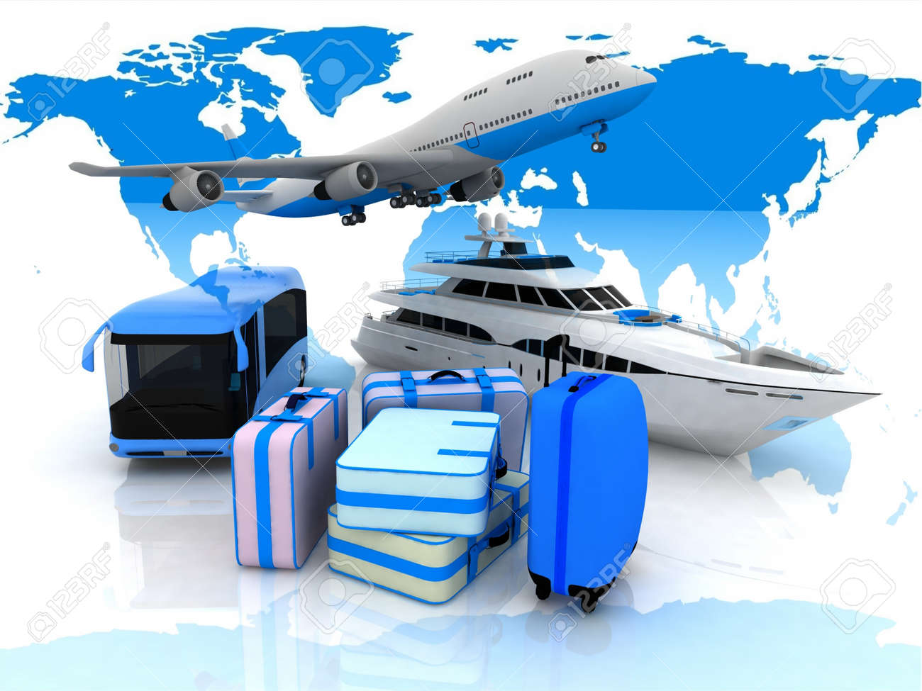 types of transport liners  and suitcases on a background map of the world Stock Photo - 12588316