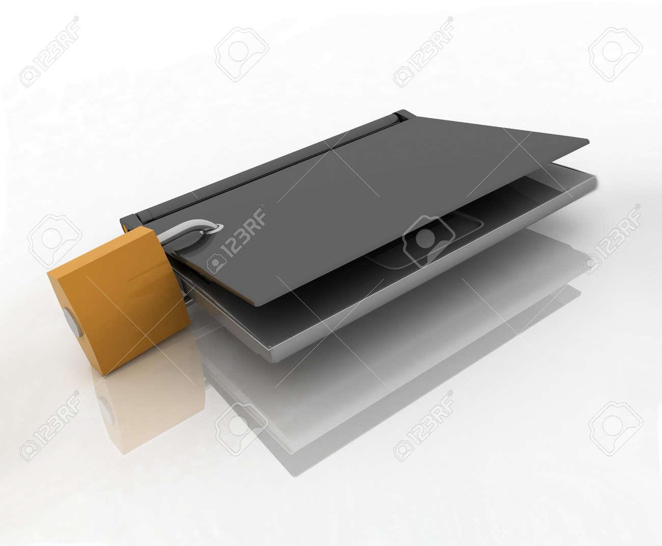 laptop closed on the lock Stock Photo - 12588336