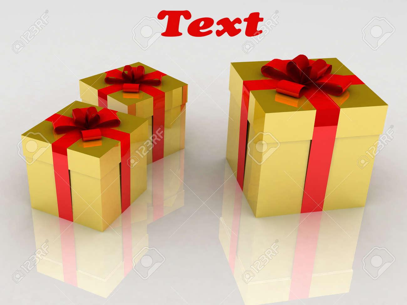 Gold present boxes Stock Photo - 12922804