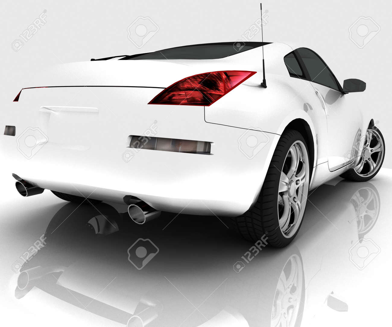 Car model on white background with reflection Stock Photo - 13407836