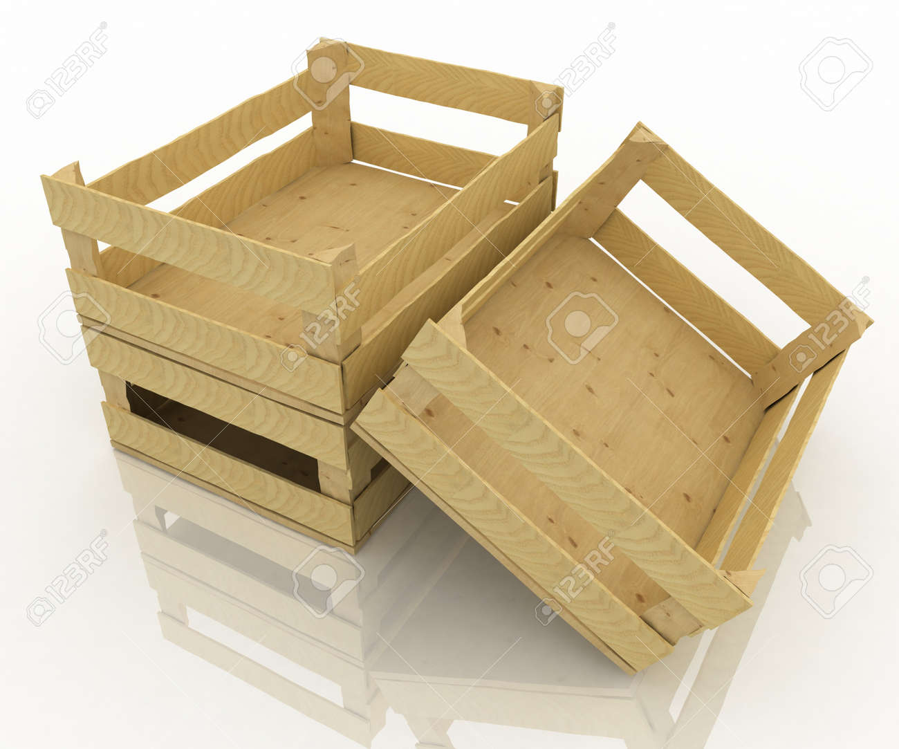 Empty Wooden Boxes Containers For Fruits And Vegetables Stock Photo