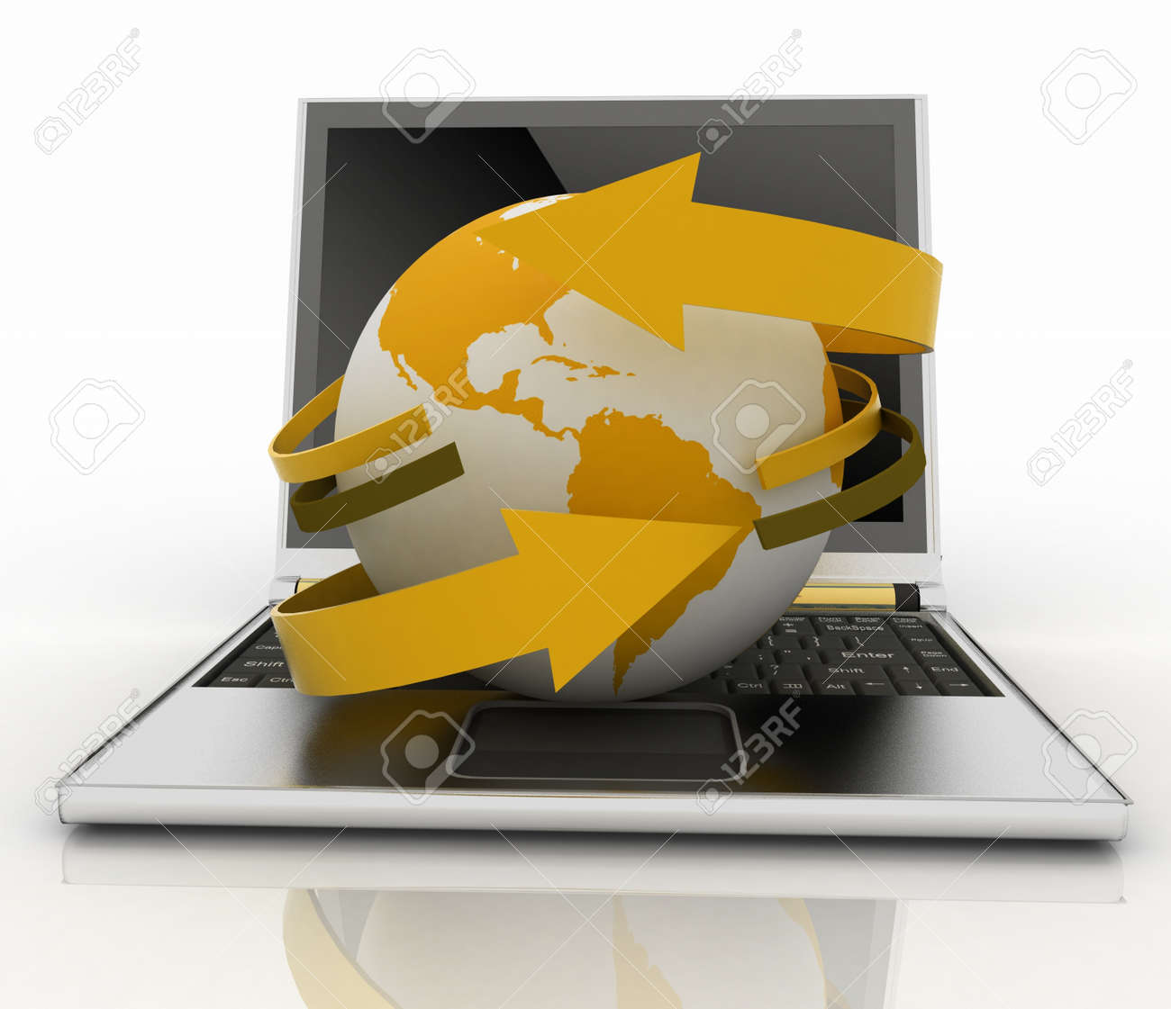 Laptop with earth and arrow. Internet concept Stock Photo - 14316301