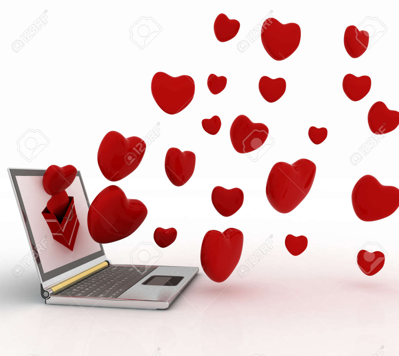 hearts take off from the screen of laptop Stock Photo - 15122162
