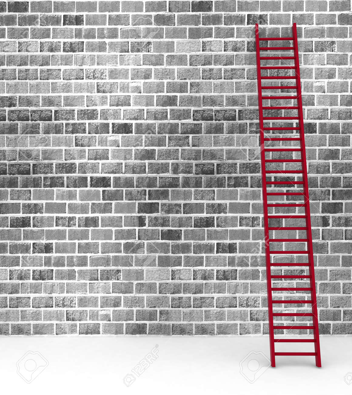 3d illustration of a ladder against near old wall with space for text Stock Illustration - 17759913