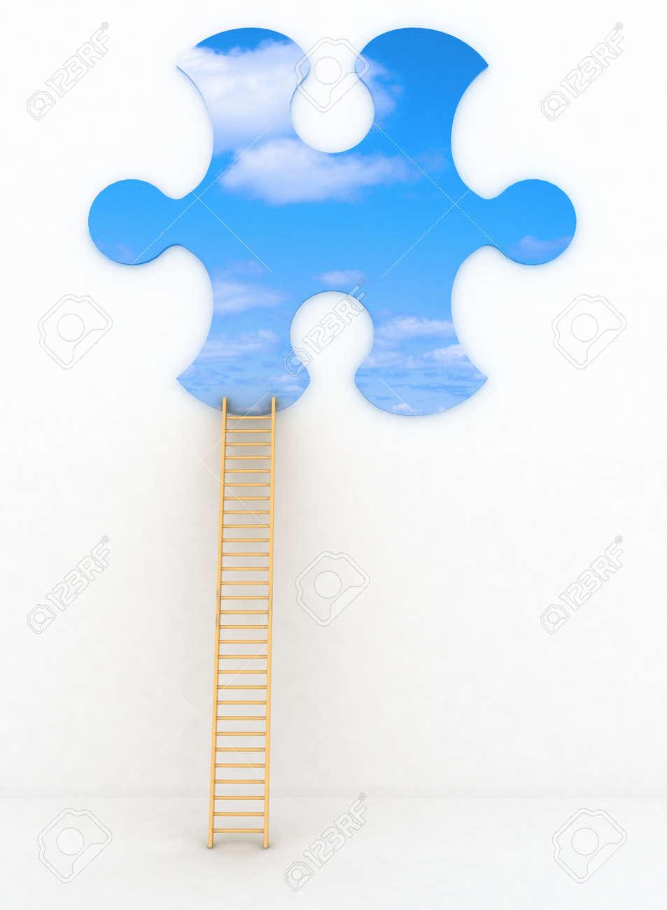 3d render illustration of ladder leading to sky Stock Photo - 17759992