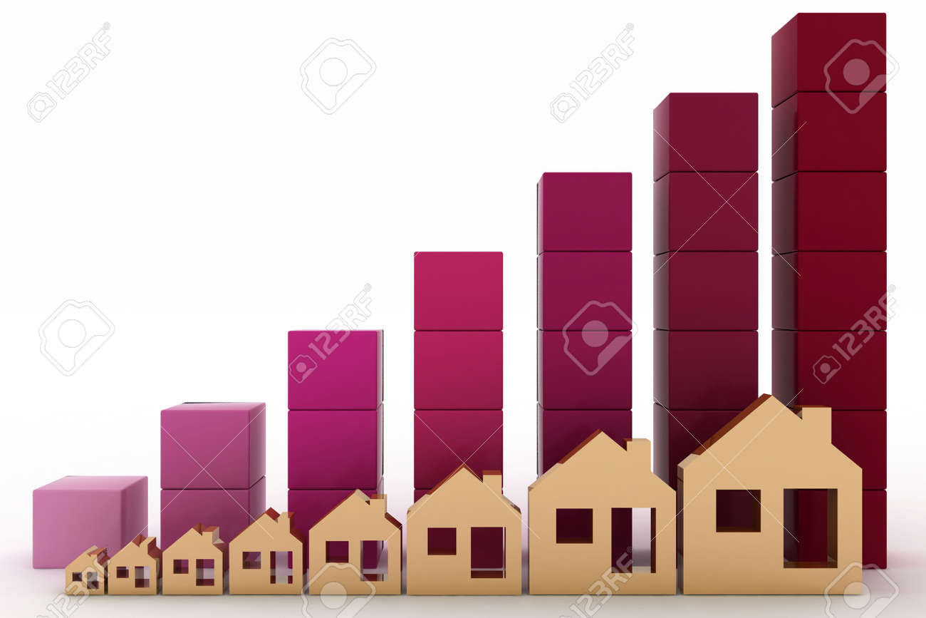 Diagram of growth in real estate prices Stock Photo - 20017236