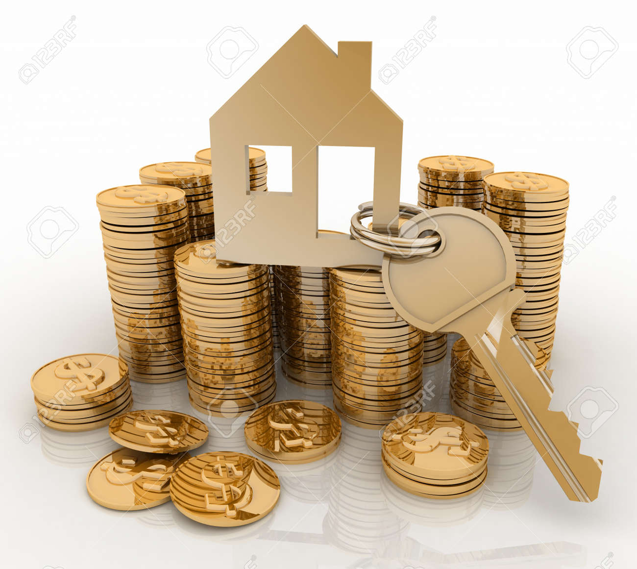 3d house symbol with key on Pile of gold coins  Conception of growth of mortgage credit Stock Photo - 21847635