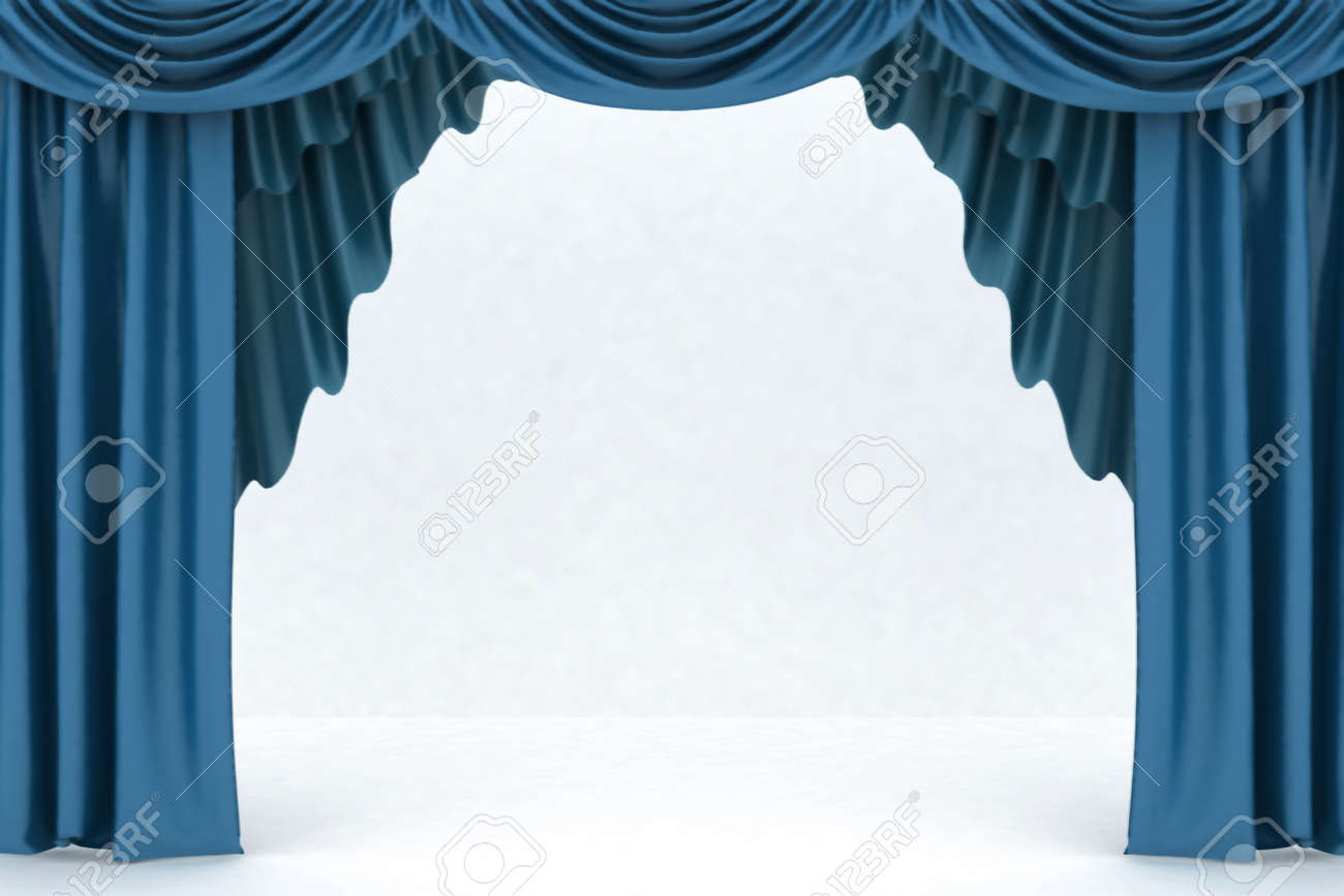 Blue curtain backdrop - Blue Theater Curtains Open Blue Theater Curtain Background Stock Photo 22868020