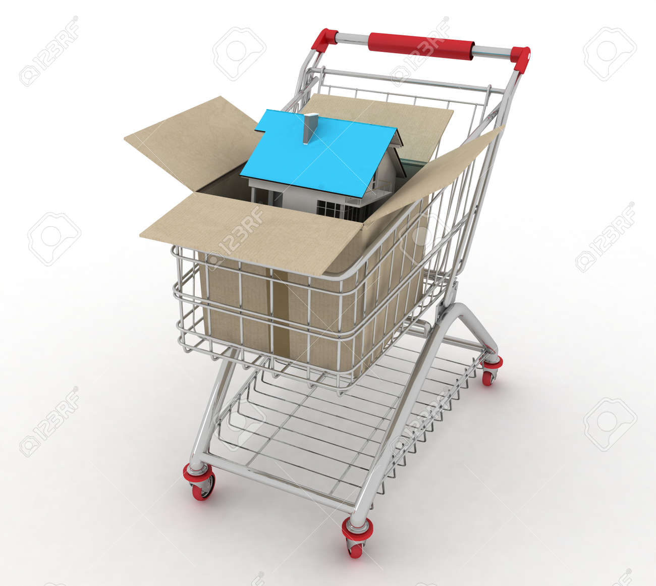 3d model house in a paper shopping box and shopping cart