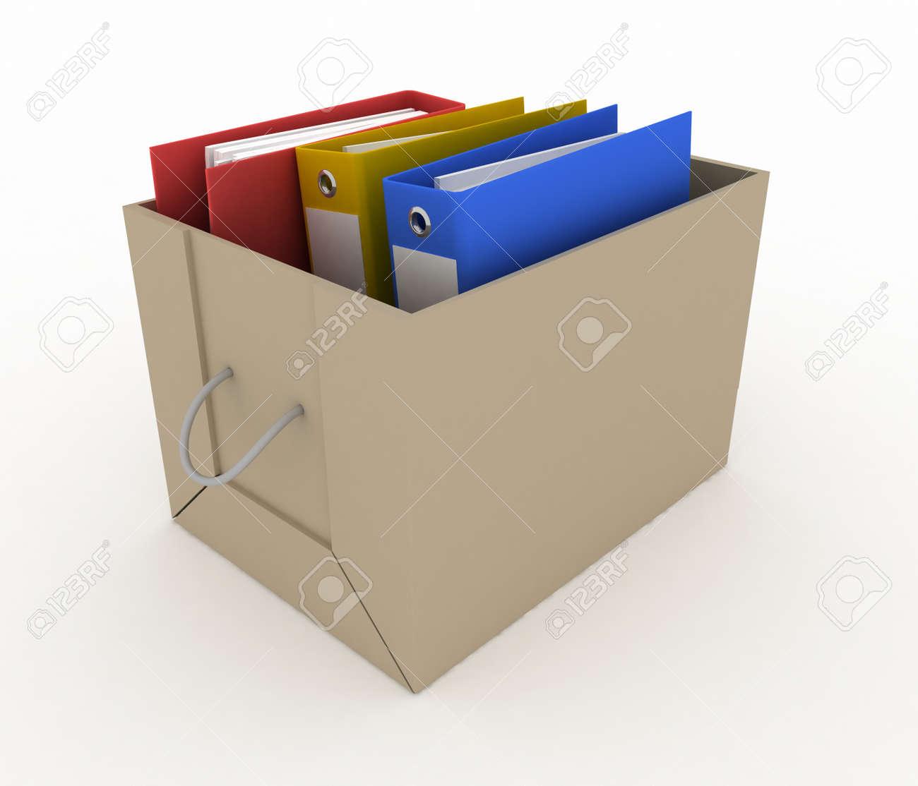 office folders in cardboard box on white background