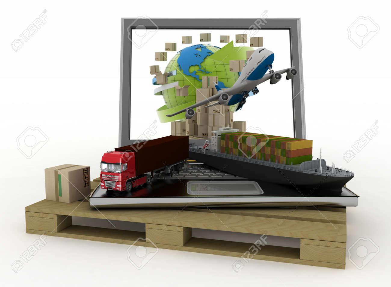 ordinateur portable avec cargo, camion, avion et boîtes autour de