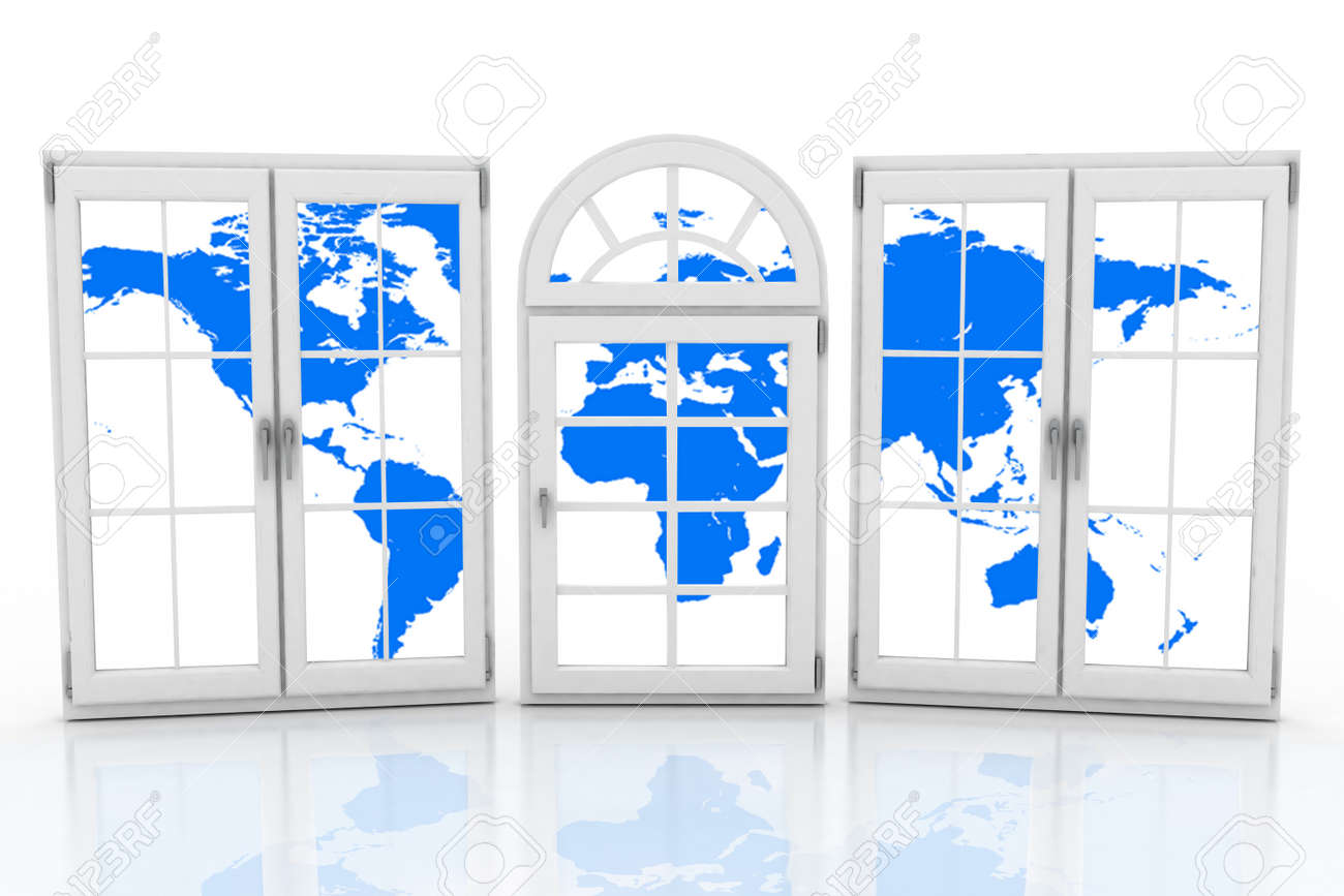 3d closed plastic windows wiht map of world on white background 3d closed plastic windows wiht map of world on white background stock photo 47658070 gumiabroncs Gallery
