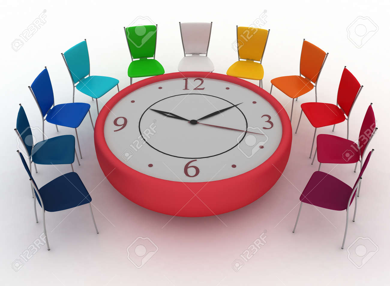 Picture of: Group Of Office Chairs At A Table As An Clock Put By A Half Round Stock Photo Picture And Royalty Free Image Image 53503366