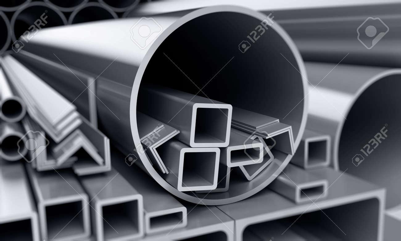 background metallic pipes, corners, types Stock Photo - 4803790