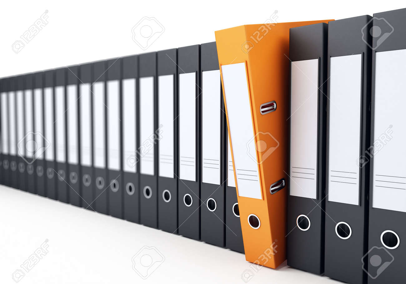 Office Folders On A White Background Stock Photo, Picture And ...