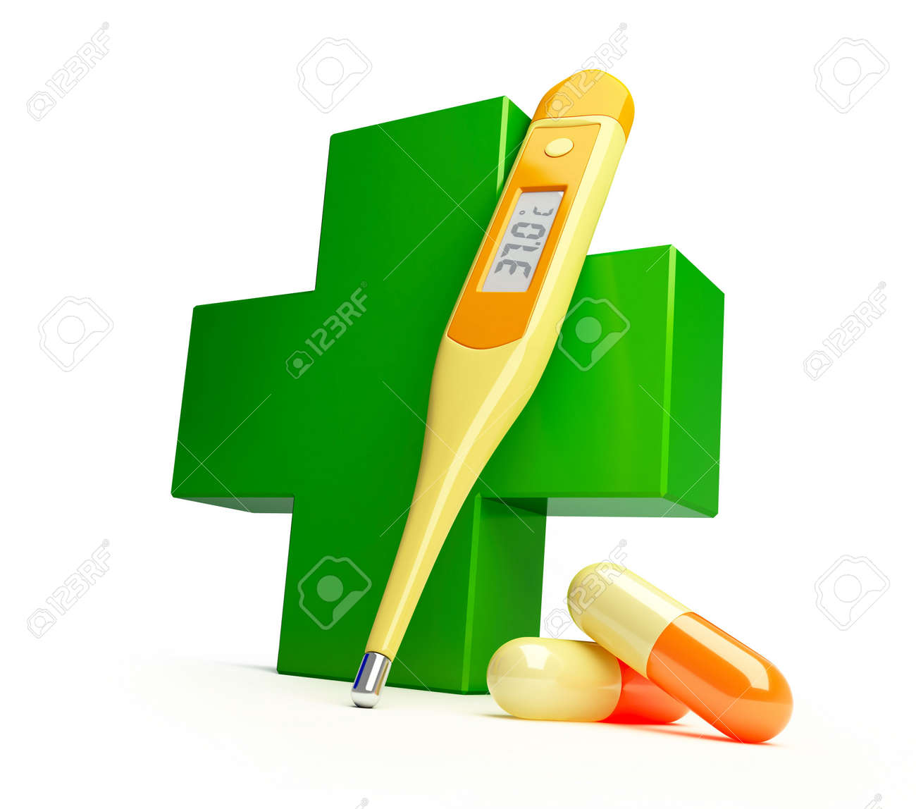 Pharmacy cross it is isolated on a white background Stock Photo - 5385060