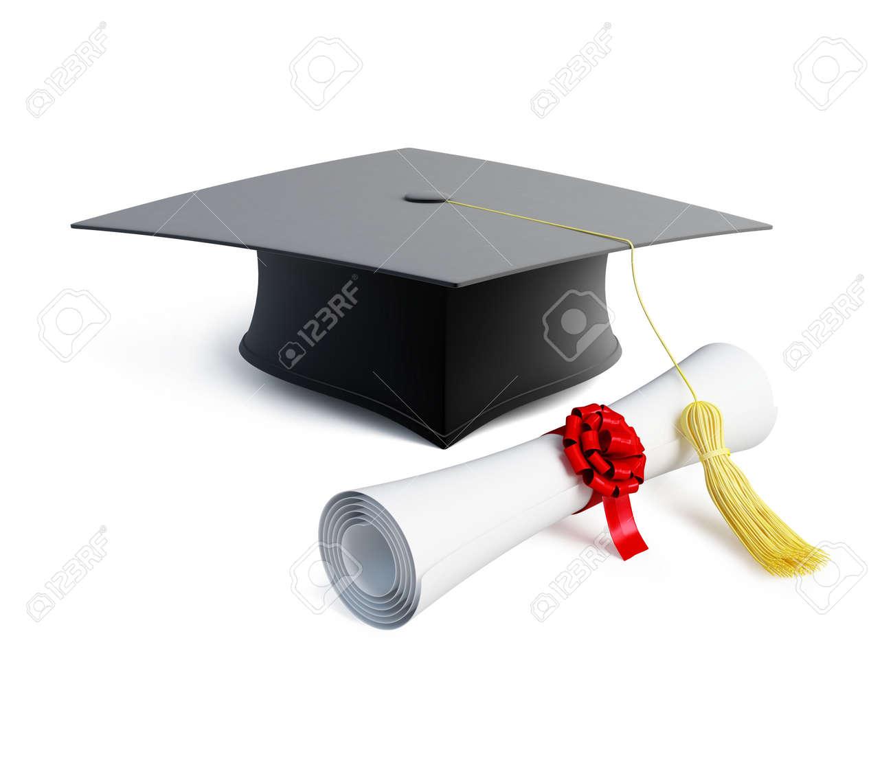 Foto de archivo , diploma de gorro de graduación aislado en un fondo blanco