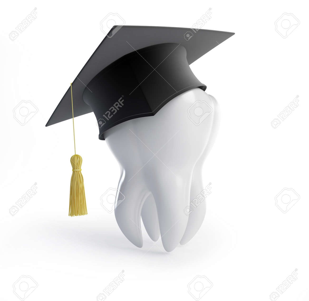 graduation cap tooth on a white background Stock Photo - 8685386