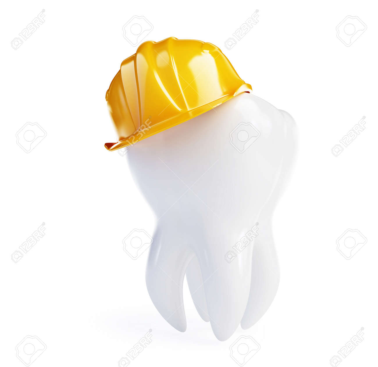tooth in a working helmet on a white background Stock Photo - 8685375
