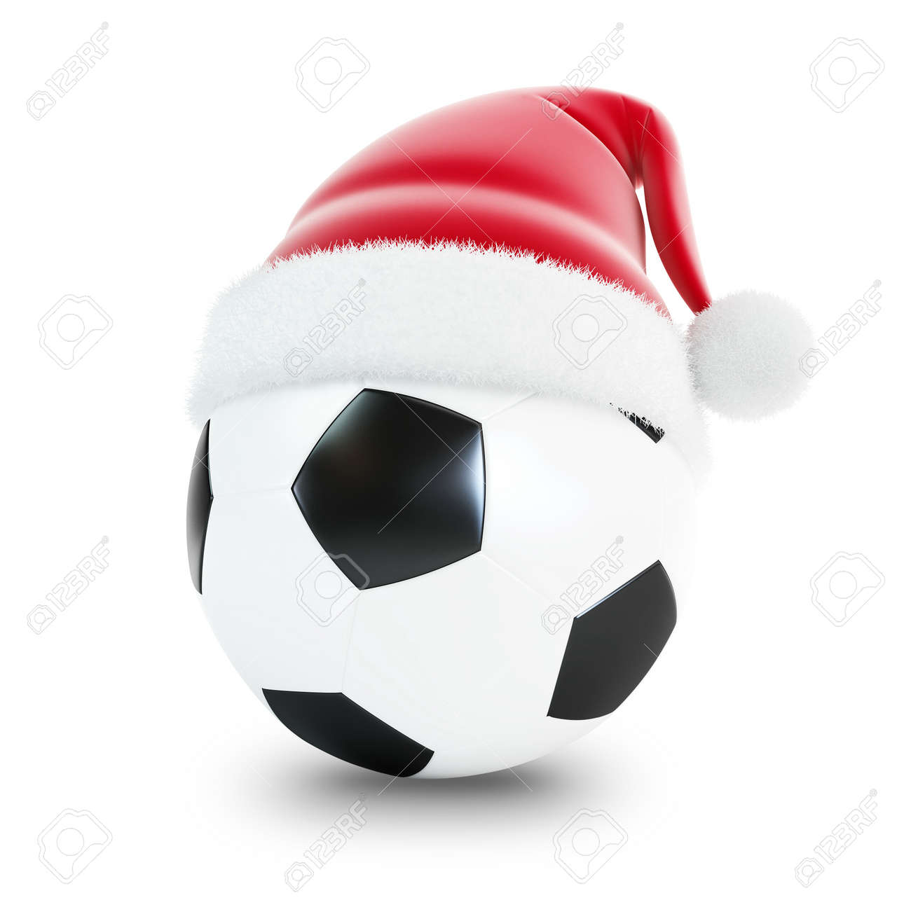 santa hat soccer ball isolated on a white background Stock Photo - 11688527