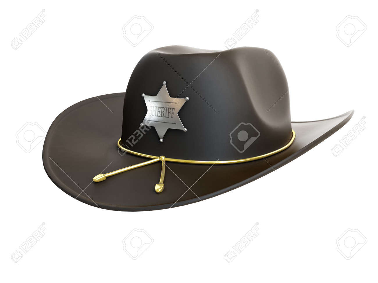 57cbbaed Sheriff Hat On A White Background Stock Photo, Picture And Royalty ...