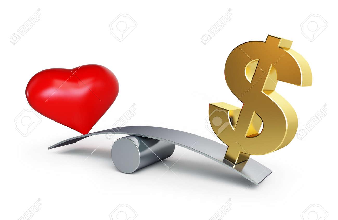 8f4166820390 love or money balances on a white background Stock Photo - 13869884