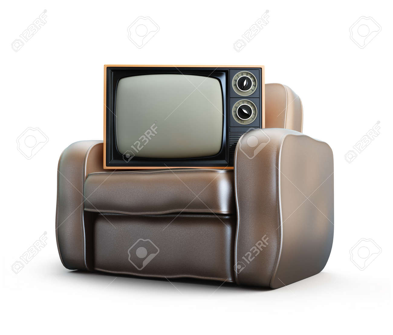Home Old Leather Armchair Tv Isolated At White Background Stock Photo    14753252