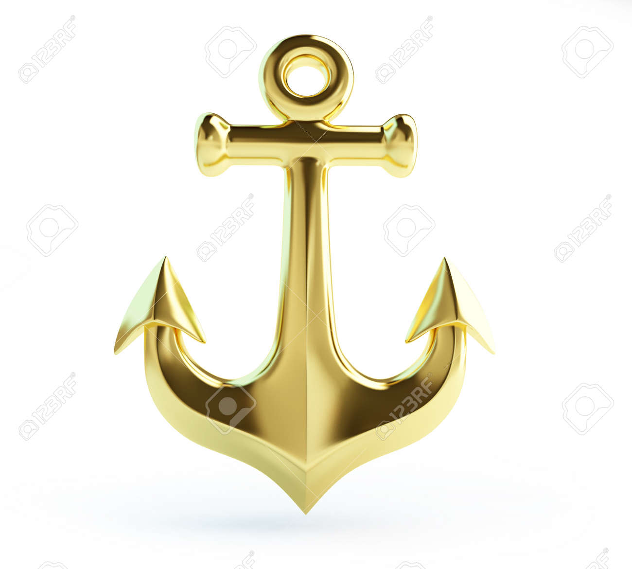 Old Gold Anchor On A White Background Stock Photo