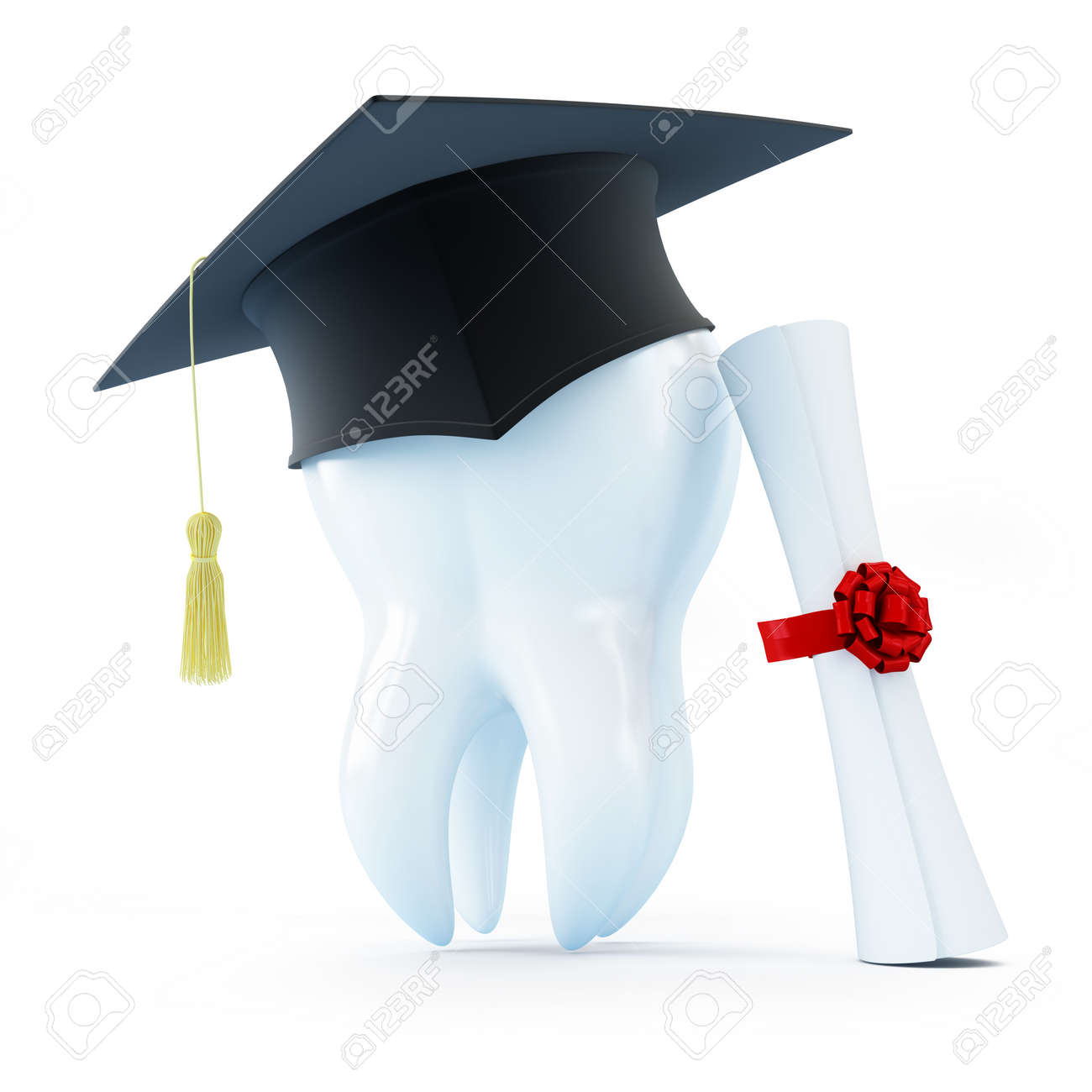 Graduation Cap Tooth Diploma Dentist On A White Background Stock Photo