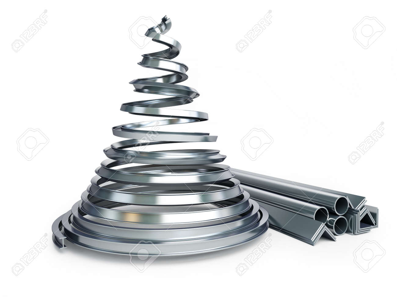 Metal Christmas Tree.Christmas Tree Metal On A White Background