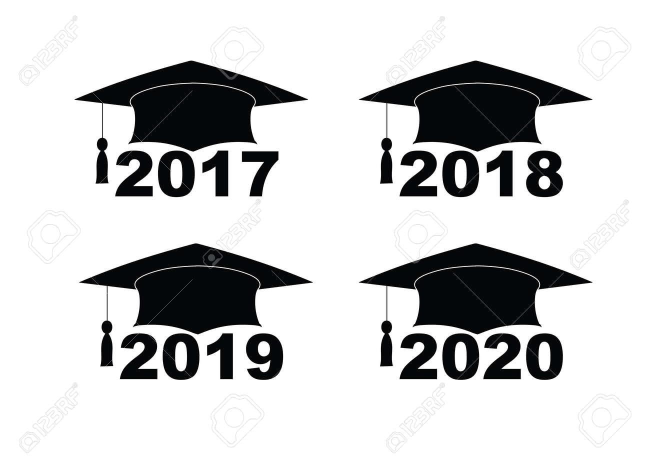 Graduation Hat 2020.Text With Graduation Hat Set On A White Set Sign Illustration