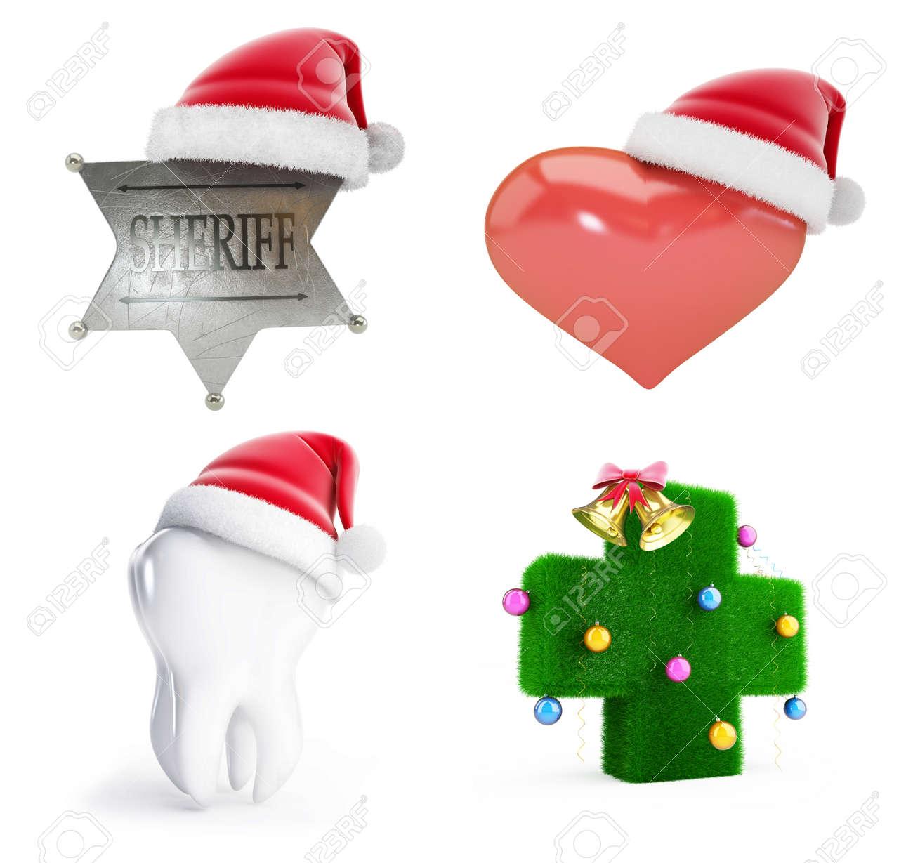 Weihnachten Sankt Hut Auf Einem Weißen Hintergrund 3D-Darstellung ...