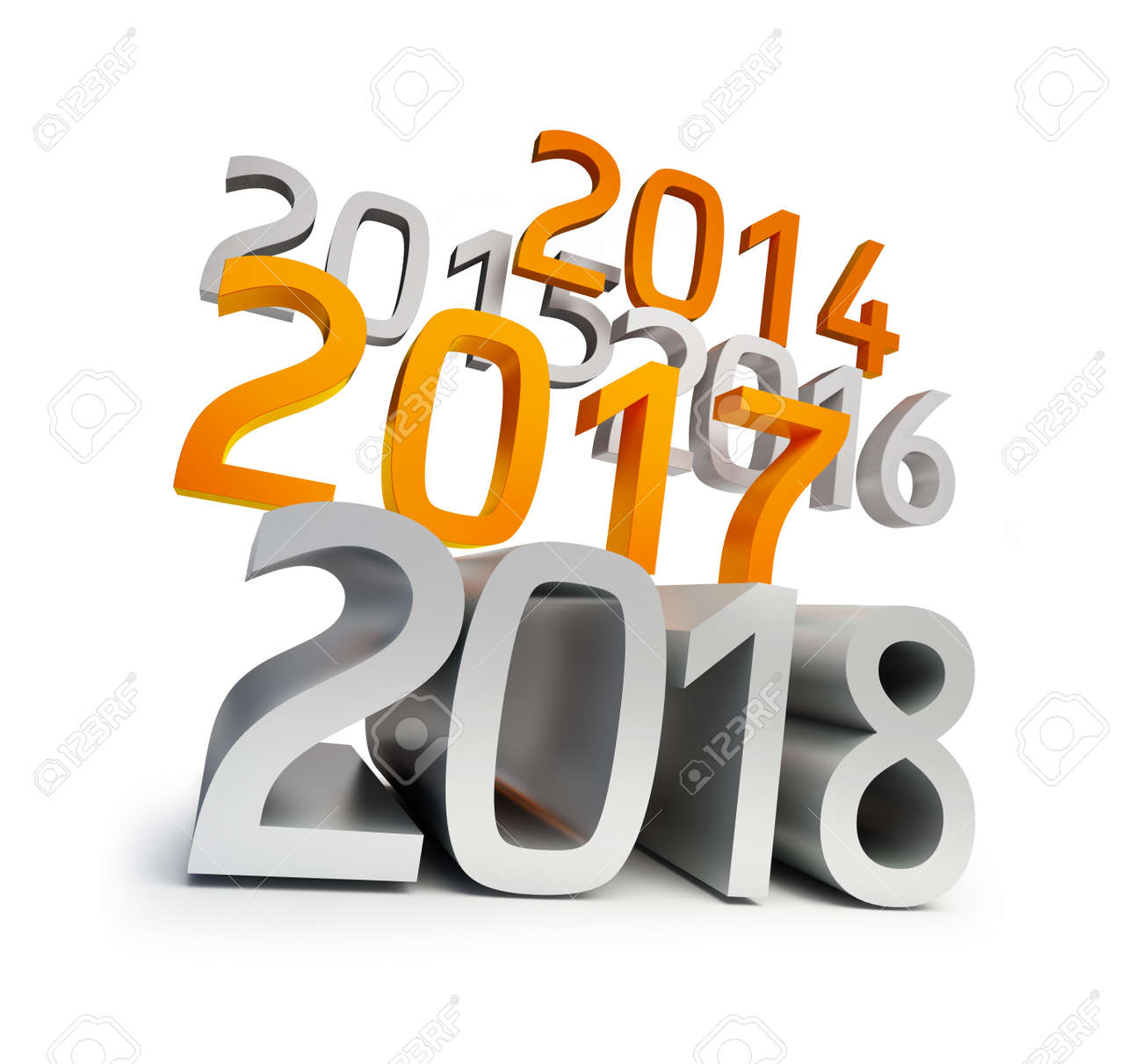 Happy New Year 2018. 3d Illustrations On A White Background Stock ...