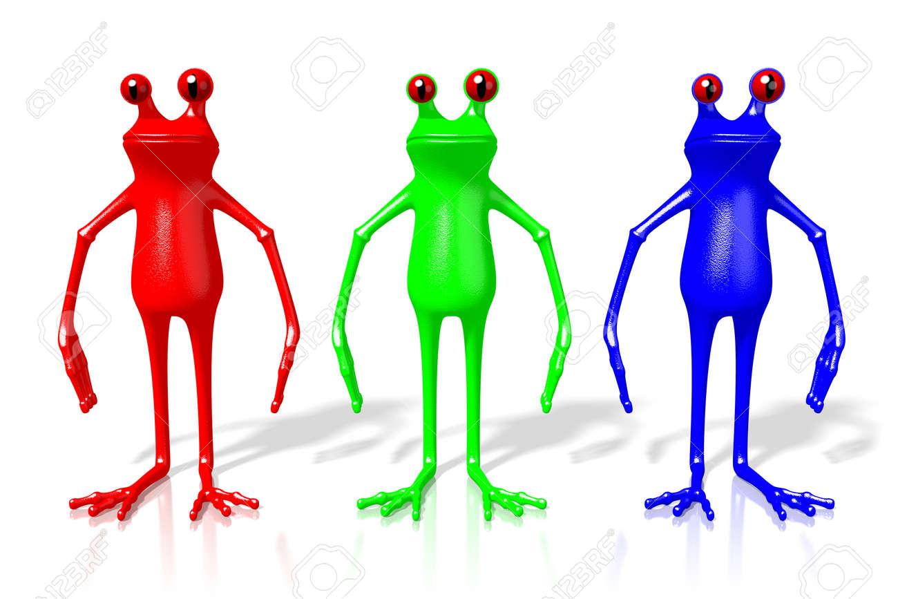 Frösche Der Karikatur 3D In RGB - Rote, Grüne, Blaue Farben ...