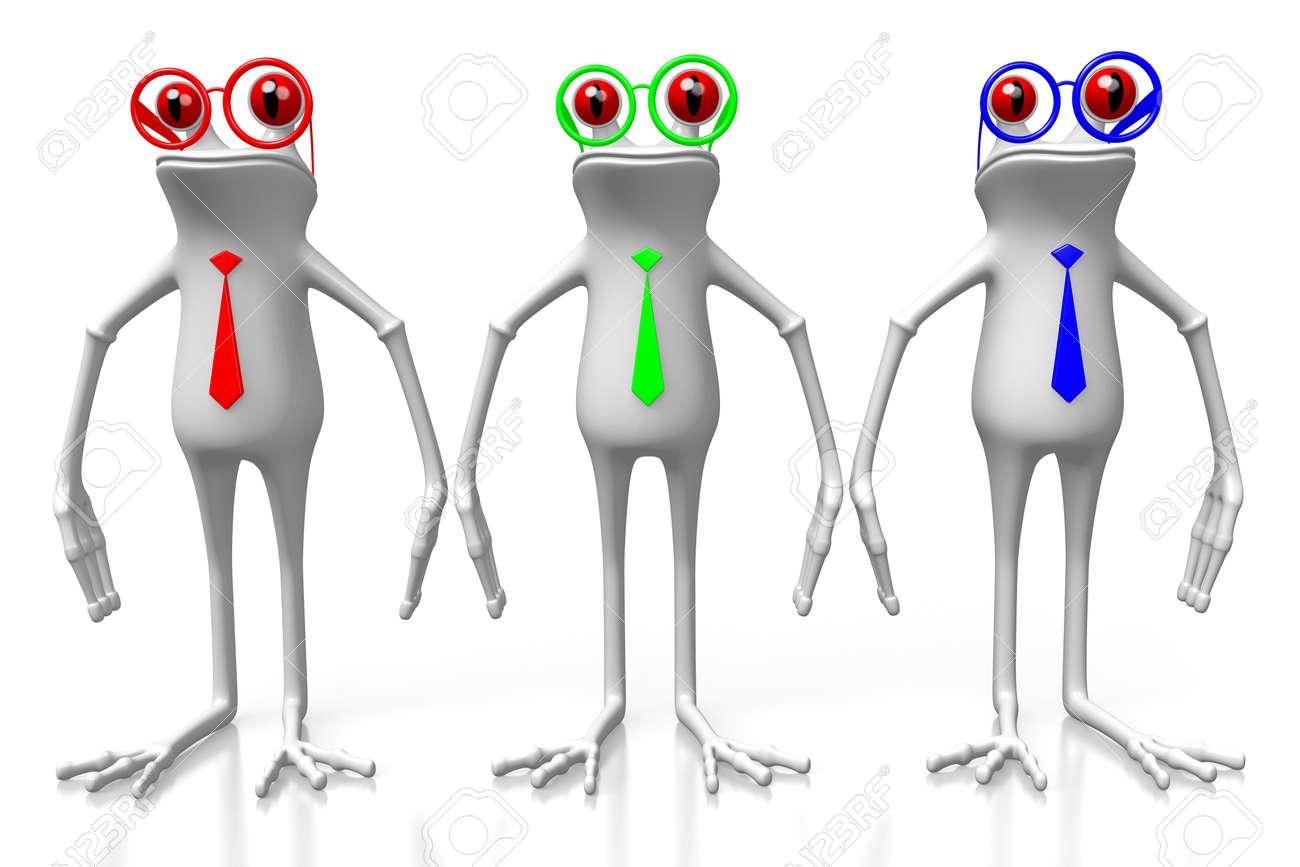 Frösche Der Karikatur 3D, Die Bindungen In RGB - Rote, Grüne, Blaue ...