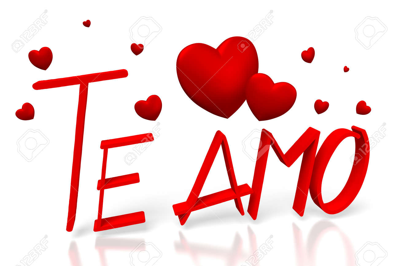 3d valentines card te amo italian stock photo picture and