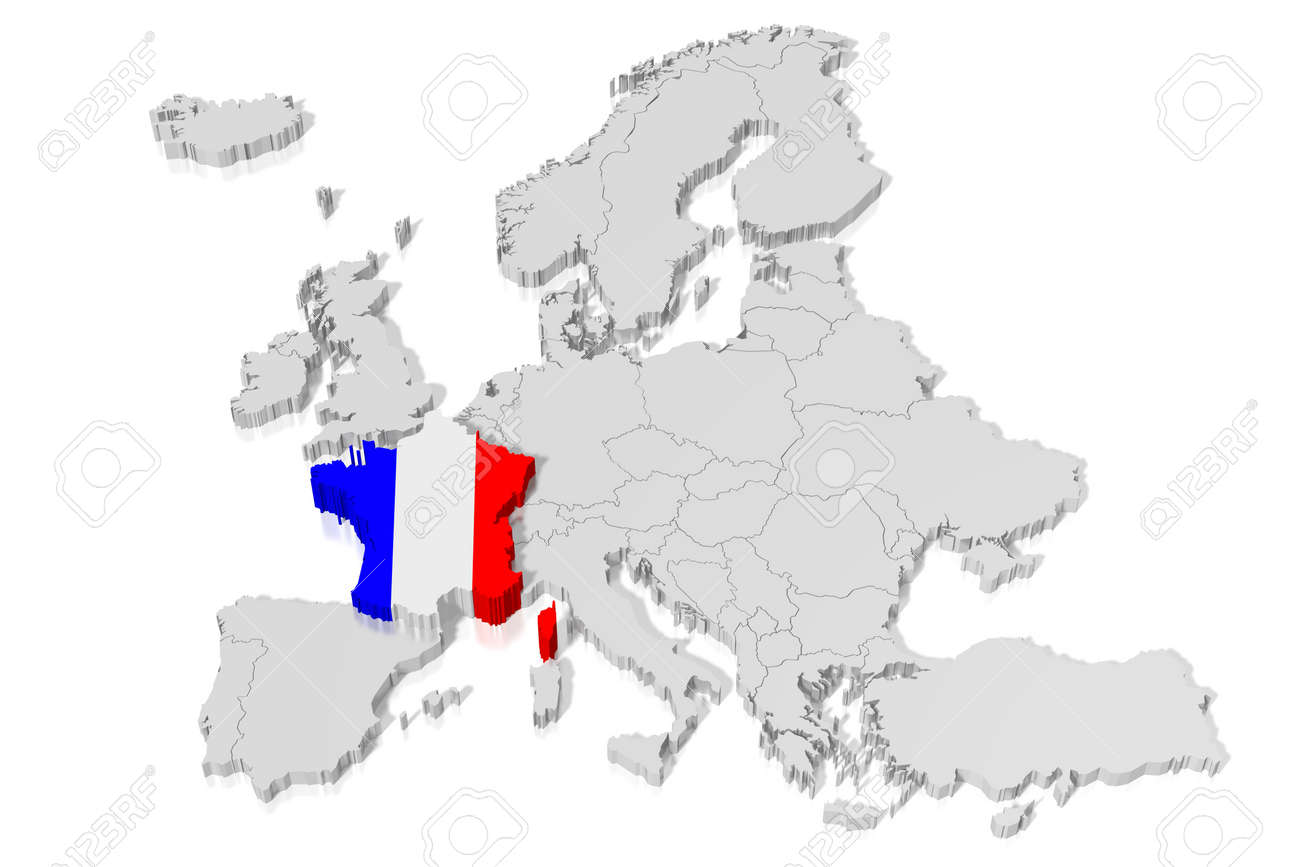 France Map Flag.3d Map Flag France Stock Photo Picture And Royalty Free Image