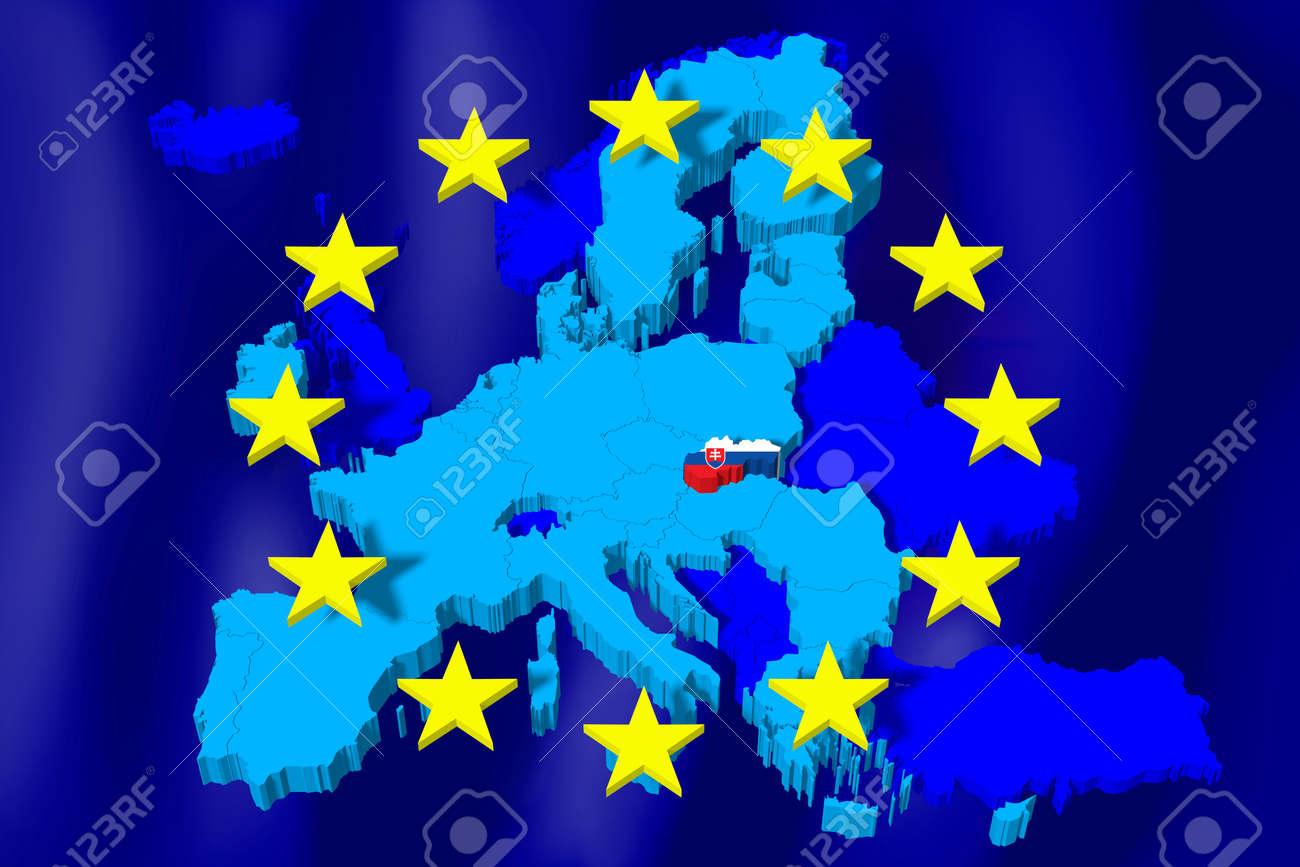 68809a3ae7 3D European Union map  flag - Slovakia Stock Photo - 84200536