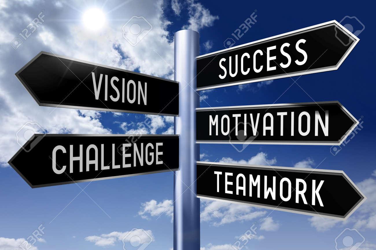 Black Signpost Success Vision Motivation Challenge Teamwork