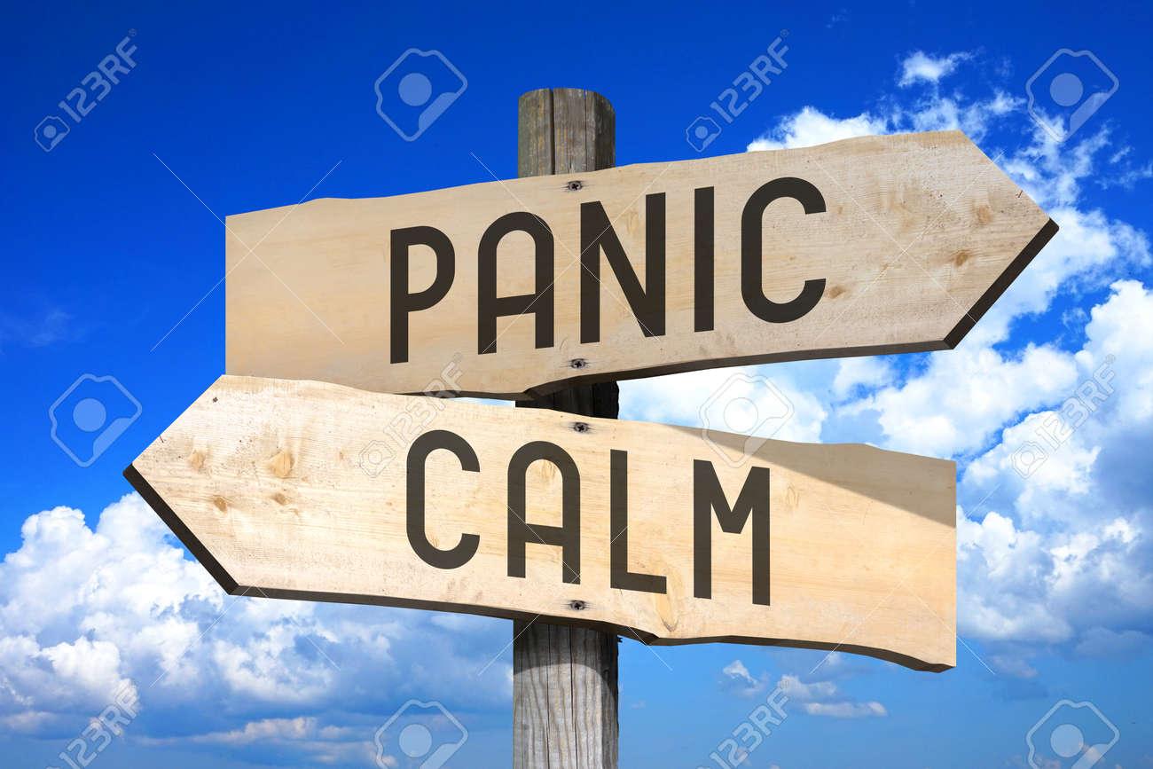 Wooden signpost - panic, calm - 83944151