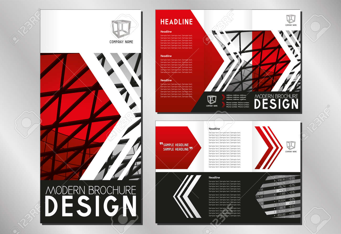 business trifold brochure flyer template a4 to dl format 3 x 99x210 mm