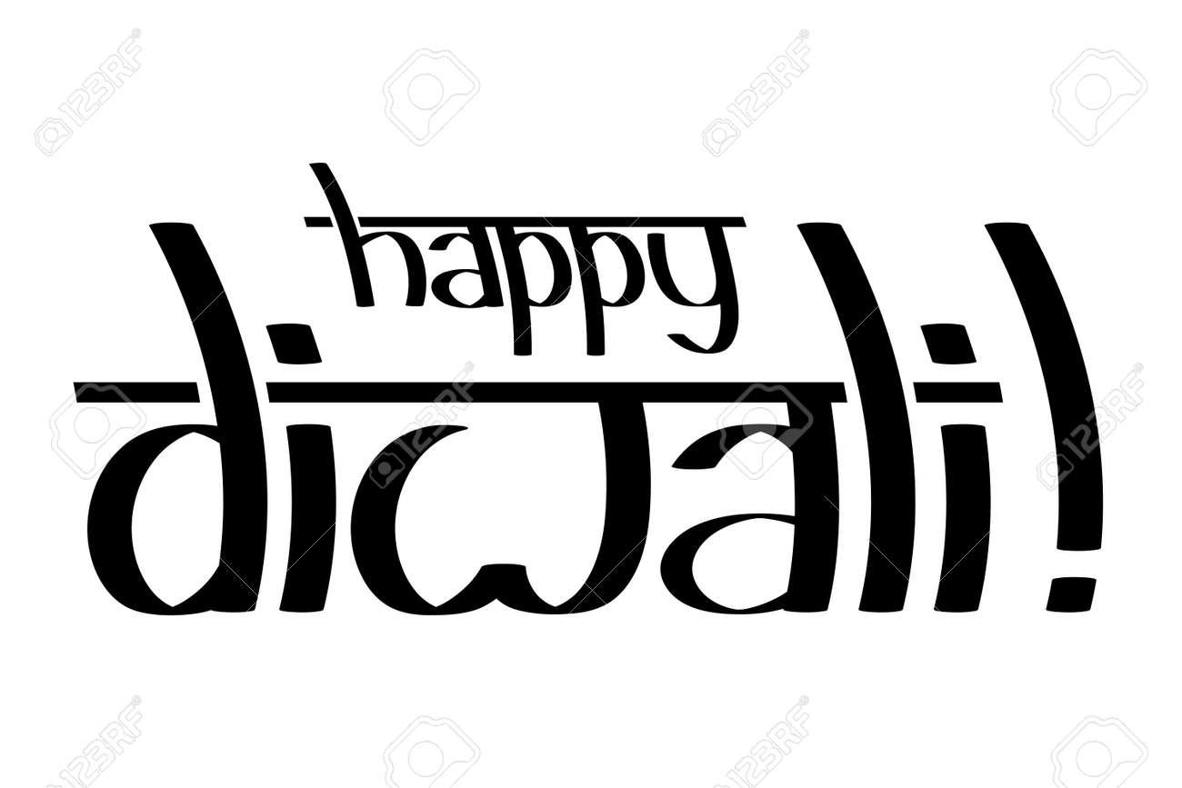 Happy Diwali Black Text On White Background