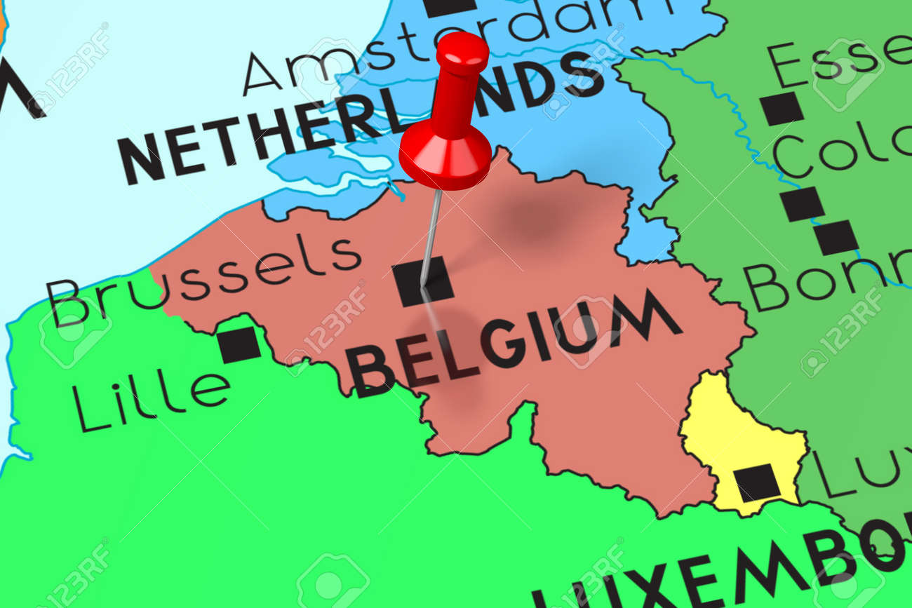 Belgium, Brussels - capital city, pinned on political map